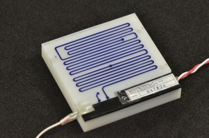 Photograph of 3D printed microfluidic board